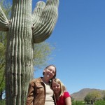 04/10/2008 - Emma's Visit: Posing in front of a saguaro cactus.